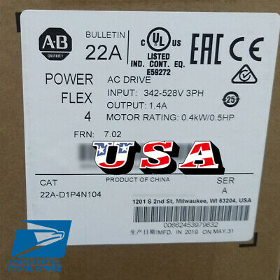 Allen Bradley 22A-D1P4N104 PowerFlex 4 VFD 0.5HP 480VAC 50-60 Hz Panel Mounting