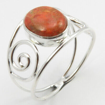 Solid Sterling Silver Women Fashion Jewelry Genuine Sponge Coral Ring # 8.75