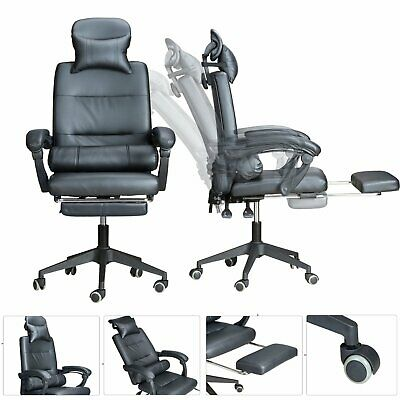 Swivel Gaming Racing Chair Office Executive Recliner With Footrest Neck Pillow