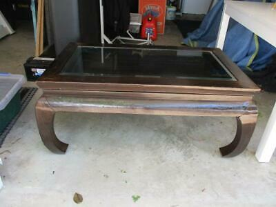 Antique Chinese Curio Wood Coffee Table Pull Out Draw Glass Top Converted Bed