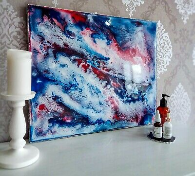 Epoxy Resin Abstract Painting, 3D effect, silvery sides, wood panel