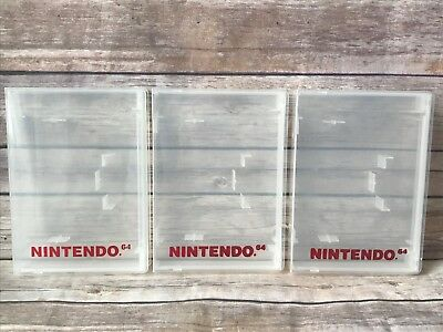 Lot Of 3 Official Nintendo 64 Clear Hard Plastic Game Cartridge Storage Case