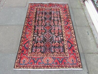 Vintage Hand Made Traditional Rug Oriental Wool Blue Red Small Rug 160x107cm