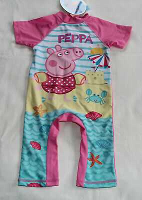 Peppa Pig Girls Pink Printed 1 Piece Sun Suit Bathers Swimsuit Size 2 New