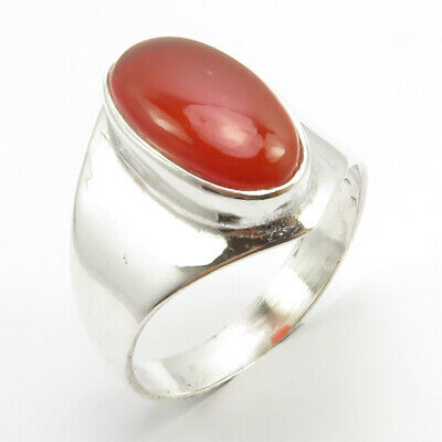 Natural Oval Cab Carnelian Ring Size 7.5 925 Sterling Silver New Art