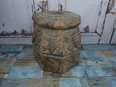 Old Vintage Antique Hand Carved Painted Wooden Pedestal Display Column Plinth