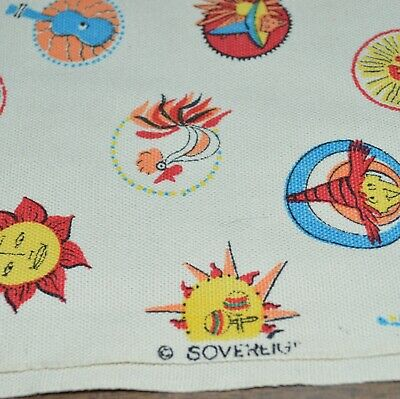 Colorful Heavy Cotton 36 X 42 Tablecloth With Witches-Sun-Roosters-Guitars