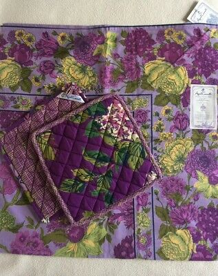 "April Cornell Cafe Tablecloth 36"" Square & 2 Hot Pads Purple Floral Cotton"