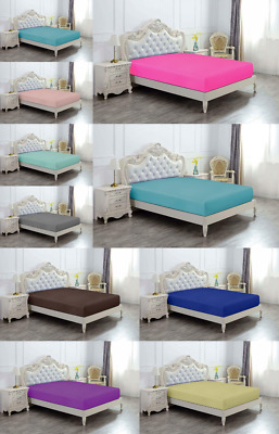 High Quality Extra Deep Microfiber 40cm Plain Dyed Fitted Bed Sheets all sizes