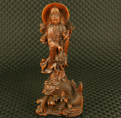 unique Chinese old boxwood buddha guan yin statue exorcism pray bless