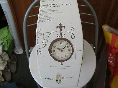 Double sided garden clock & thermometer