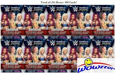 (10) 2017 Topps WWE Womens Division HUGE EXCLUSIVE Sealed Hanger Box-400 Cards