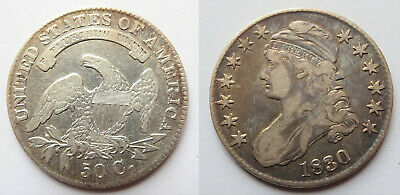 1830 Capped Bust Half Dollar Philadelphia 50c Silver Coin