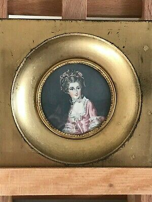 Fine Antique Hand painted Miniature Portrait, 19th Century French Princess