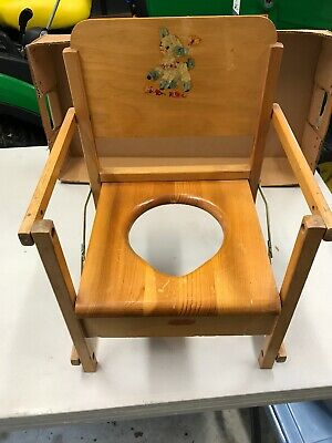 Vintage Child's Potty Chair, Wood, Circa 1960's