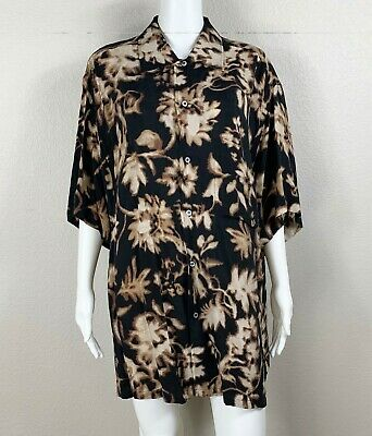 BRIONI For Neiman Marcus Men's Shirt Rayon Black Multi Print Made in Italy XL