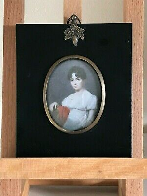 Fine Antique Italian Hand painted Miniature Portrait, 19th Century Victorian