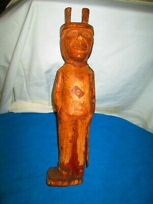 VINTAGE PRIMITIVE WOOD CARVING of  NATIVE AMERICAN