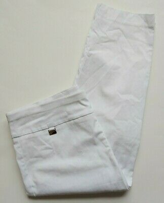 Alfani Dress Pull On Cropped Pants Womens Size 14 White Tummy Control Capri Stre