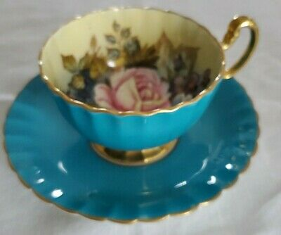 AYNSLEY signed J.A. BAILEY CABBAGE ROSE  TEAL BLUE Teacup & Saucer