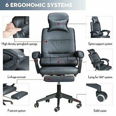 Office Chair Executive Racing Gaming Adjustable Swivel Recliner Leather Footrest