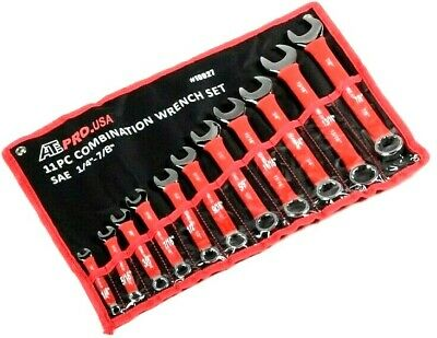 "11 pc Soft Grip Combination Wrench Set  Combo Wrenches SAE 1/4 TO 7/8"" STANDARD"