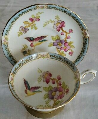 Tuscan Fine Bone China Tea Cup and Saucer Pink Flowers with Birds 8993