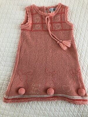 Deux Par Deux Red Sweater Knit Dress with Poodle Design Sizes 2-6 NWT