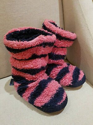 Joules Girls Slipper Boots Size Small 8-10 Pink & Blue