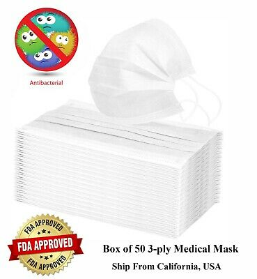 Box of 50 pcs 3 ply Disposable Surgical Medical Dust Proof Face Mask BFE 95%
