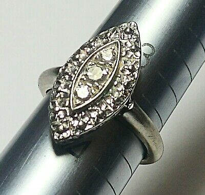 14K Solid White Gold 0.16 TCW Diamond 3 Stone Design Marquise Shaped Ring Sz 3.5