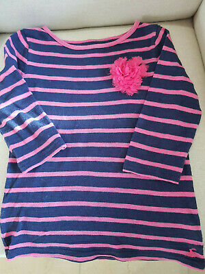 Joules Girls Breton Top With Ruffle Flower Blue And Pink Age 5-6 Years