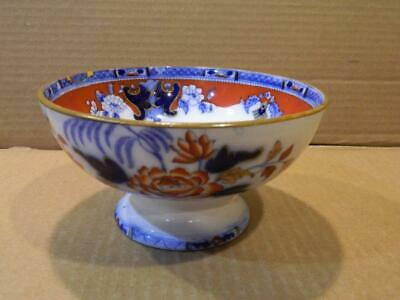 Gaudy Welsh Footed Slop Bowl England Cobalt & Iron Red Flowers Antique