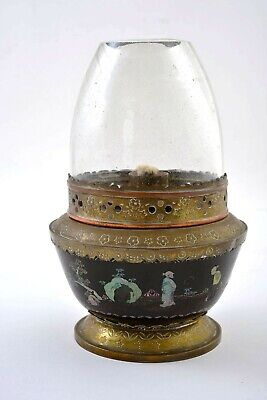 1930's Chinese Mother of Pearl Inlay Lac Burgaute Lacquer Bowl Opium Lamp