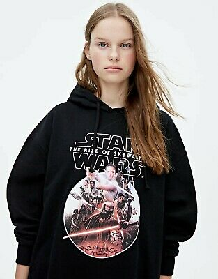 Star Wars IX Pull & Bear HOODIE M Womens Girls Black Pink Rise Of Skywalker Rey