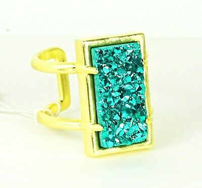 KENDRA SCOTT Lennox Yellow Gold Plated Teal Agate Druzy Adjustable Ring