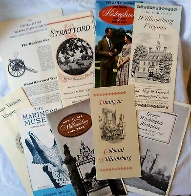 Lot 9 Vtg MCM 1960's Travel Brochures Guides Virginia Tidewater Williamsburg +++