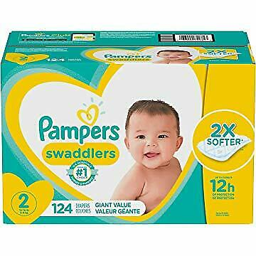 Diapers Size 2, 124 Count - Pampers Swaddlers Disposable Baby Diapers, Giant ...