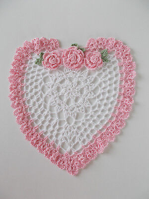 New Hand Made Crocheted Valentine's Day Heart Doily