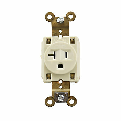 Hubbell Hbl5361I Extra Heavy Duty Standard Single Receptacle, 20A, 125V, Ivory