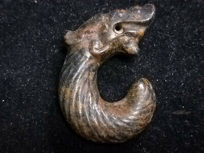 Old Chinese Neolithic HongShan jade Hand carved Amulet Pendant Jade Pig Dragon