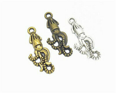 DIY 16pcs MIX Tibet silver octopus Necklace Charm Pendant beads Jewelry Making
