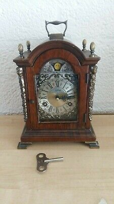 Luxury Dutch Warmink 2 bell Table clock Moon Phase, Walnut Shelf Bracket clock,