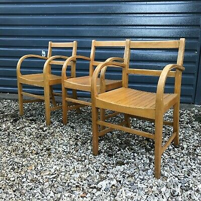 Set of 3 unusual Vintage mid century School Chairs, office, church chairs 1950s