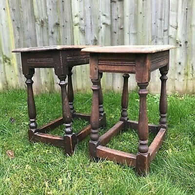 Pair of Antique Country Side Table, stools, English Oak