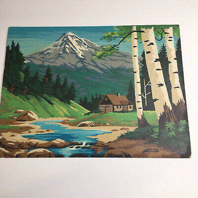 Vintage Paint By Numbers Completed Landscape Cabin Painting 12x16  NOT Framed