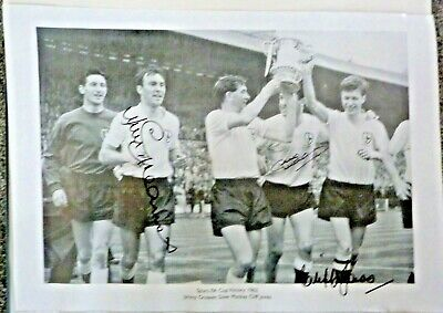 Spurs  Original Signed Print, Jimmy Greaves,Dave Mackay,Cliff Jones,Fa Cup 1962