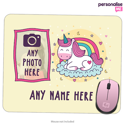 Personalised PHOTO / NAME Cute Unicorn Girly Mouse Mat Pad PC Laptop Gift Gaming