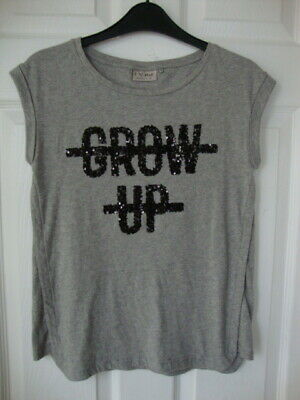 """Next Girls Grey Sleeveless Top with Motif """"Grow Up"""" in Sequins size 10 years"""