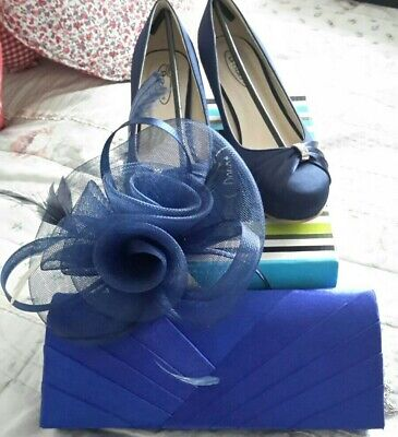 BNWT Blue Fascinator And Satin Effect Clutch Style Hand Bag For Wedding, Races,